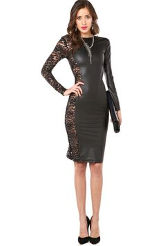 Sequin Sided Pleather Dress in Black