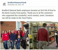 Bradford National Bank employees donated an SUV full of food to the Bond County Food pantry. Thank you to all the customers who supported this wonderful, much needed, event. Donations can still be made to the Food Pantry.