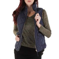 Thread & Supply Juniors Quilted Zip Vest
