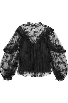 Chloé   Ruffled embroidered tulle blouse   NET-A-PORTER.COM