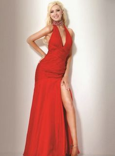 94a036f110d52 Halter Top Prom Dress With Dramatic Slit