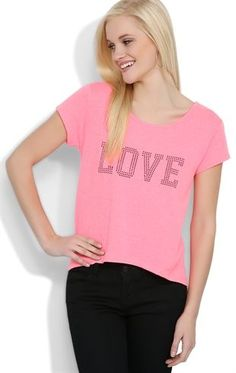 Deb Shops Short Sleeve Top with Rhinestone #Love Patch and High Low Hem $9.67