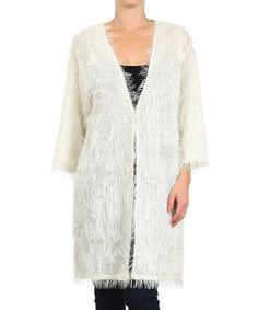 Look what I found on #zulily! Off-White Fuzzy Knit Cardigan #zulilyfinds