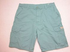 Mens Wrangler  Cargo Shorts Green Aquamarine sz 38 100% Cotton ( Measure 38X10 )…