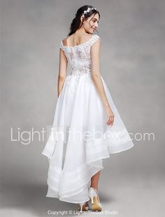 A-line Wedding Dress - Chic & Modern See-Through Asymmetrical Off-the-shoulder Organza with Lace Beading 2017 - $129.99