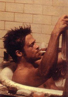 Brad Pitt. In a bathtub.
