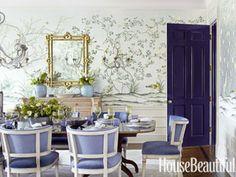 High-gloss interior door. Design: Pat Healing. Photo: Maura McEvoy. housebeautiful.com. #dining_room #high_gloss_paint #door #purple