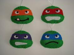 LAST SET Handmade Teenage Mutant Ninja Turtles TMNT felt ornament decoration set of 4