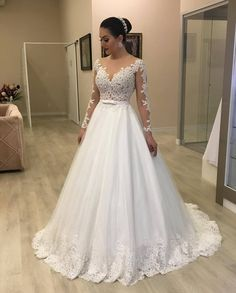 Long Sleeves Plus Size Wedding Gown with Sheer Lace Bodice Long Sleeves Plus Size Brautkleid mit Sheer Lace Mieder White Lace Wedding Dress, Elegant Wedding Dress, Tulle Wedding, Lace Dress, Lace Bodice, Gown Wedding, Trendy Wedding, Tulle Lace, A Line Wedding Dress With Sleeves