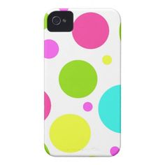 Fun Colorful Hot Pink Blue Green Polka Dots Case-Mate iPhone 4 Cases