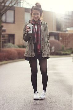 with black skinnies instead of tights.