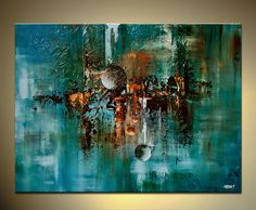 "Abstract Art Teal Modern Contemporary Turquoise Painting Large Palette Knife on Canvas Textured Art by OSNAT 48""x36"". $1,500.00, via Etsy."