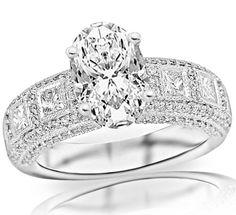 2.06 Carat Oval Cut / Shape 14K White Gold Exquisite Bezel Set Princess Cut And Pave Set Round Diamond Engagement Ring ( J Color , VS2 Clarity ) - Size 5 Chandni Jewels http://www.amazon.com/dp/B00BND82JY/ref=cm_sw_r_pi_dp_hthwub04BVXQ7