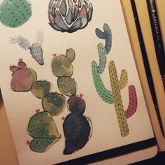 part 2 of 3   #cactus #watercolor #ilustração #illustration #moleskine by…