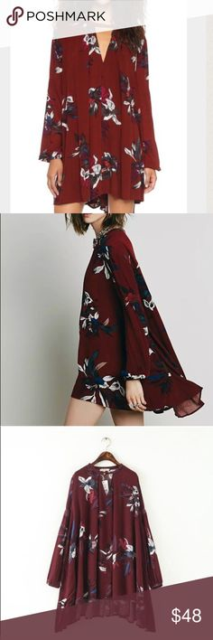 """Fall Boho swing dress dark red It's so perfectly current for 2016-2017, perfectly suited for any season. Branded as """"STAR"""", new with tag. MATERIALS : cotton, rayon, and silk blend. Size M: front length: 30.7, back length: 34.7. Size L: front/back 31.7/35.7. Size S: 29.7/33.7. Great match with BOOTS in Fall. Boutique  Dresses Mini"""