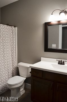 Home Tour Part 6: Guest Bathroom Decorations and design Gray & White  http://fantabulosity.com