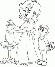 suprise mom with flowers coloring page - coloring.com