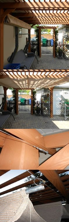 Make Your Own Retractable Shade Awning By Creating Pockets For Steel Or  Wood Bars. A