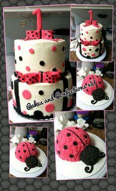 1 St birthday polka dots, bows and lady bug's...