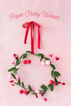 Crepe Paper Cherry Wreath day wreath diy paper flowers Crepe Paper Cherry Wreath - The House That Lars Built Valentines Day Decorations, Valentine Crafts, Be My Valentine, Holiday Crafts, Diy Flowers, Paper Flowers, Fabric Flowers, Friends Valentines Day, Papier Diy