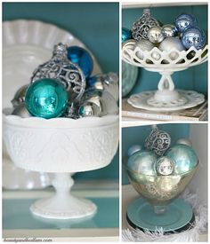 milk glass + ornaments = the most beautiful decoration ever Coastal Christmas, Blue Christmas, Vintage Christmas, Christmas Time, Christmas Crafts, Christmas Decorations, Christmas Ornaments, Christmas Mantles, Xmas