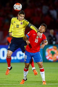Gonzalo Jara of Chile fights for the ball with James Rodriguez of Colombia during a match between Chile and Colombia as a part of FIFA 2018 World Cup...