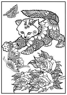 Coloring For Adults Cat Chasing Butterfly