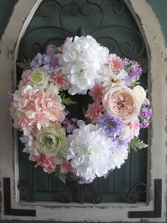Easter Wreath, Front Door Wreath, Wedding, Mother's Day, Pink Cabbage Rose, White Hydrangea, Spring Wreath, Pastel Soft Touch Silk Flowers  #Promotion… #PaidAd #ad #affiliatelink