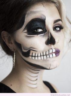 Half skull makeup idea for Halloween