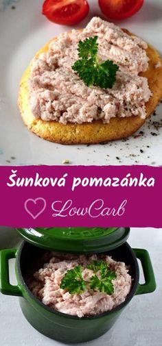 Šunková pomazánka low carb « LadyLowCarb.cz Salmon Burgers, Lowes, Low Carb, Ethnic Recipes, Food, Fitness, Diet, Essen, Meals