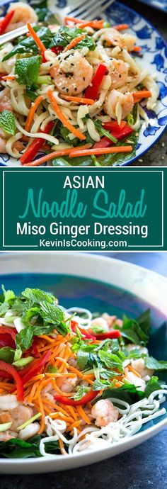 This Asian Noodle Salad has an amazing miso ginger dressing and the pan seared shrimp, crisp vegetables and fresh, bright herbs make this just cooked noodle salad a meal. #salad #shrimp #noodles
