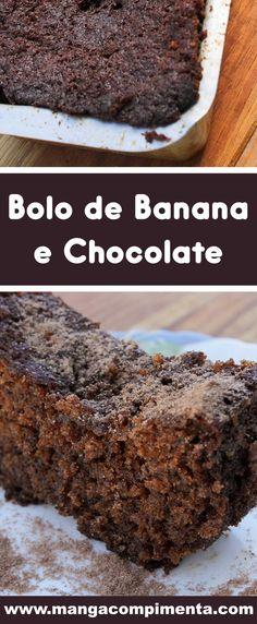 Receita de Bolo de Banana e Chocolate - prepare um lanche delicioso para a sua família. #receitas