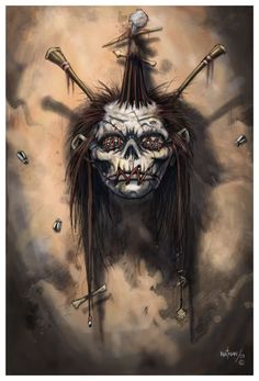 ☆ Shrunken Head :¦: By Artist Nathan Rosario ☆ God Tattoos, Body Art Tattoos, Skull Tattoos, Creepy Art, Creepy Dolls, Shrunken Head Tattoo, Voodoo Doll Tattoo, Totenkopf Tattoos, Tiki Art