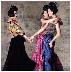 The Dee Triplets in skirts and beaded tops by Lanvin-Castillo at the Paris Collections, photo by Norman Parkinson, 1964