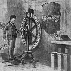 An electrotachyscope is an 1887 invention which presents the illusion of motion with transparent serial photographs arranged on a spinning wheel of fortune or mandala-like glass disc. It was first publicly demonstrated in the Chicago World's Fair of 1893.