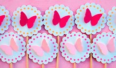 Butterfly cupcake toppers from Mary Had a Little Party.