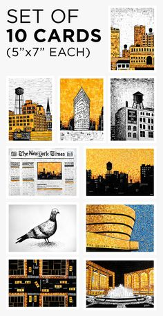 Postcard Series A — Nina Boesch Manhattan Skyline, Ny Times, Card Stock, Greeting Cards, English, Graphic Design, Illustrations, York, My Love