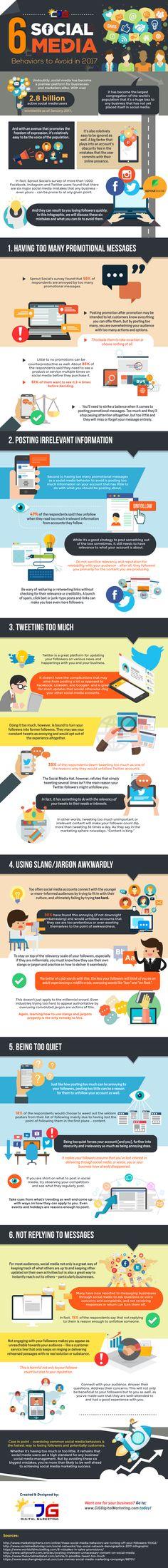 6 Social Media Behaviors to Avoid in 2017 (Infographic)