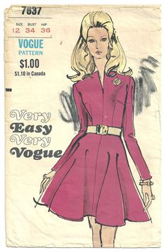 Vintage Easy Vogue 7637 Misses Flared Mod Twiggy Dress Sewing Pattern Sizes 10 Bust Vintage Vogue Patterns, Vogue Sewing Patterns, Clothing Patterns, Simple Dress Pattern, Miss Dress, One Piece Dress, Fitted Bodice, Flare Skirt, Simple Dresses