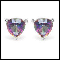 Nwt925 Silver Mystic Topaz Trillion Earrings