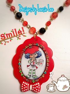 Image of Crepe Suzette necklace strawberry shortcakes berry good friend 80s doll cartoon theme