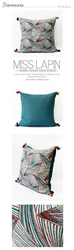 MISS LAPIN东南亚/沙发床头高档抱枕设计师/变幻几何图案流苏方枕-淘宝网