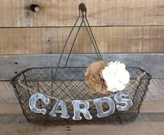 Rustic Wedding Card Box, Country Chic Wire Basket, Wooden Card Banner on Etsy, $38.50