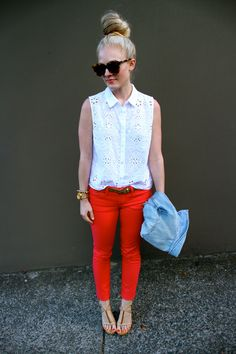 Eyelet and Jcrew coral jeans and light denim jacket