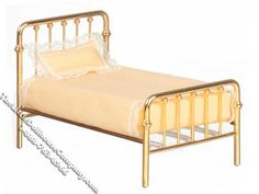 Miniature Single Brass Bed for Dollhouses