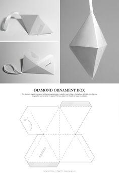 Ornamento del diamante Caja - embalaje estructural dielines diseño