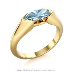 """Yellow Gold Aquamarine Ring - """"Dragon Eye-east to west the only way to set this cut for me."""