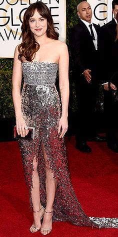 Best dressed at the 2015 Golden Globes - Dakota Johnson in a strapless silver Chanel dress