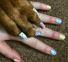 Mommy and Me matching mani/pawdicure. Nail Art Studio design made by HiddenSkill Independent Jamberry Nail Consultant.   Hiddenskill.jamberrynails.net