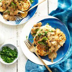 Roasted Cauliflower Steaks with Mushroom Sauce